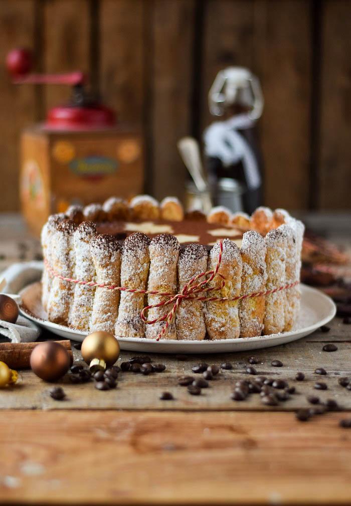 Tirmaisu Cheesecake Charlotte - Kaffee Kuchen mit Löffelbiskuit und Kaffeelikör (11)