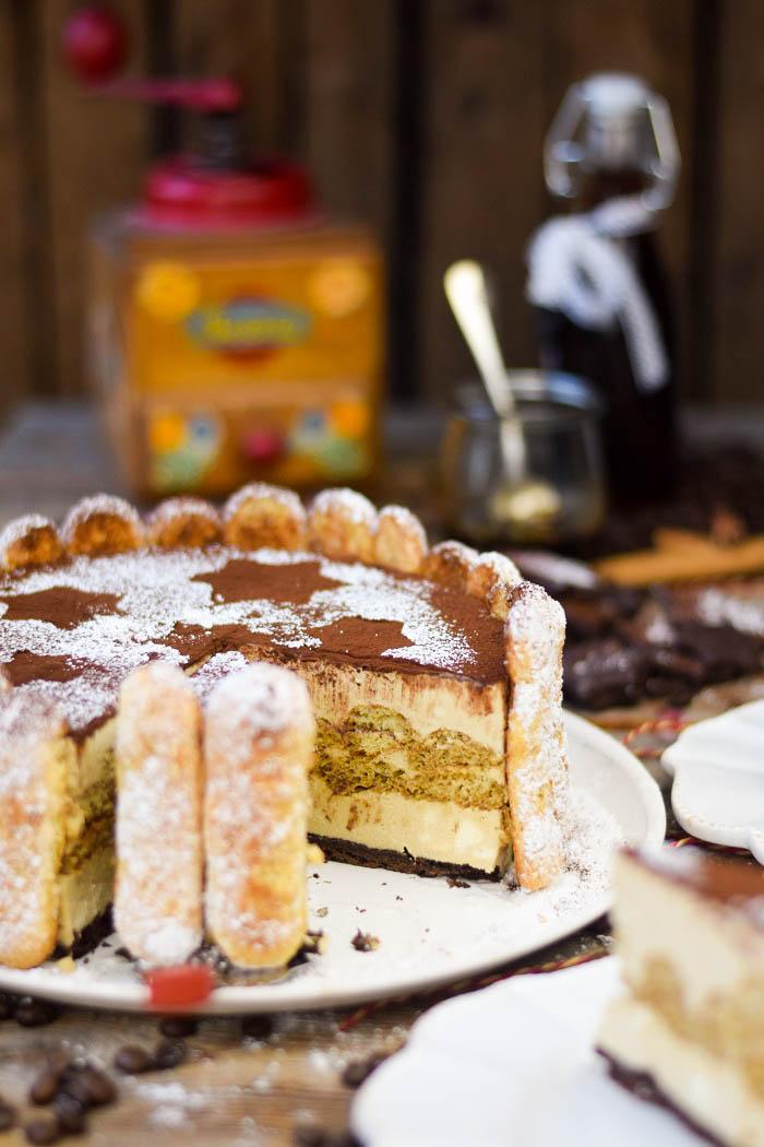 Tirmaisu Cheesecake Charlotte - Kaffee Kuchen mit Löffelbiskuit und Kaffeelikör (19)