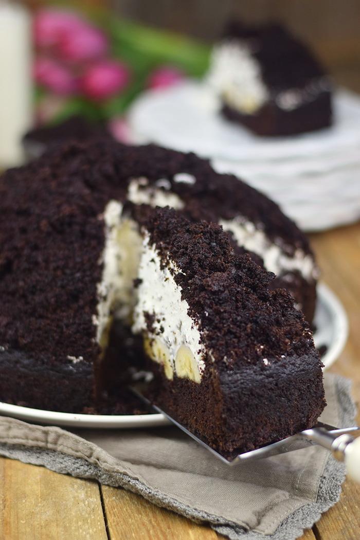 Maulwurfkuchen - Schokoladenkuchen mit Bananen und weisser Creme - Chocolate Banana Cream Cake Pie (13)