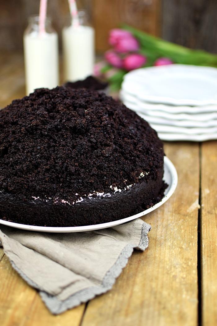Maulwurfkuchen - Schokoladenkuchen mit Bananen und weisser Creme - Chocolate Banana Cream Cake Pie (6)