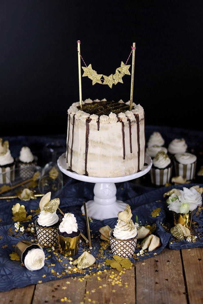 Neujahrstorte - Schoko Kaffee Mokka Torte - Guinnes Cupcakes und Glückskekse mit weisser Schokolade (20)