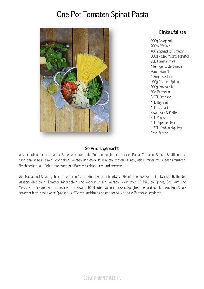 One Pot Pasta - Pasta mit Basilikum, Tomate und Spinat - One Pot Tomato Spinach Basil Pasta-001-001