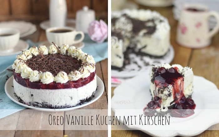 oreo vanille torte mit hei en kirschen oreo vanilla cake with cherries. Black Bedroom Furniture Sets. Home Design Ideas