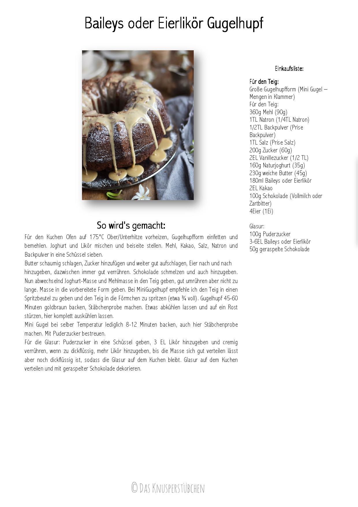 Baileys Schoko oder Eierlikör Schoko Gugelhupf Kuchen - Baileys Chocolate Bundt Cake-001