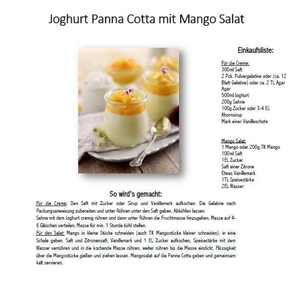 Joghurt Panna Cotta mit Lieblingssaft und Mango Salat - Yogurt Panna Cotta with Mango Salad