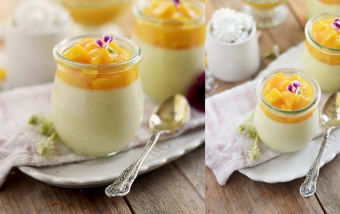 Joghurt Panna Cotta mit Mango Salat: Fruchtig und leicht (Werbung)