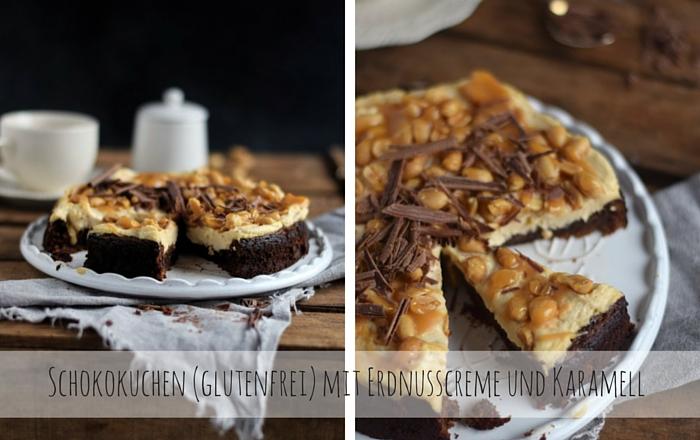 Schokokuchen (glutenfrei) mit Erdnusscreme und Karamell - Glutenfree Chocolate Cake with Caramel and Peanuts
