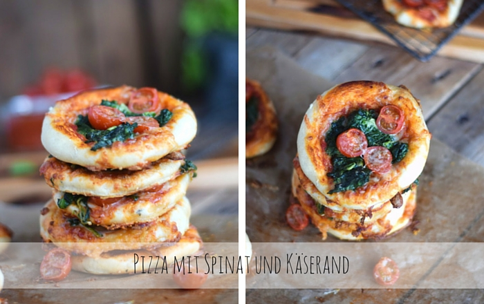 Spinat Pizza mit Käserand - Spinach Pizza with cheese crust ...