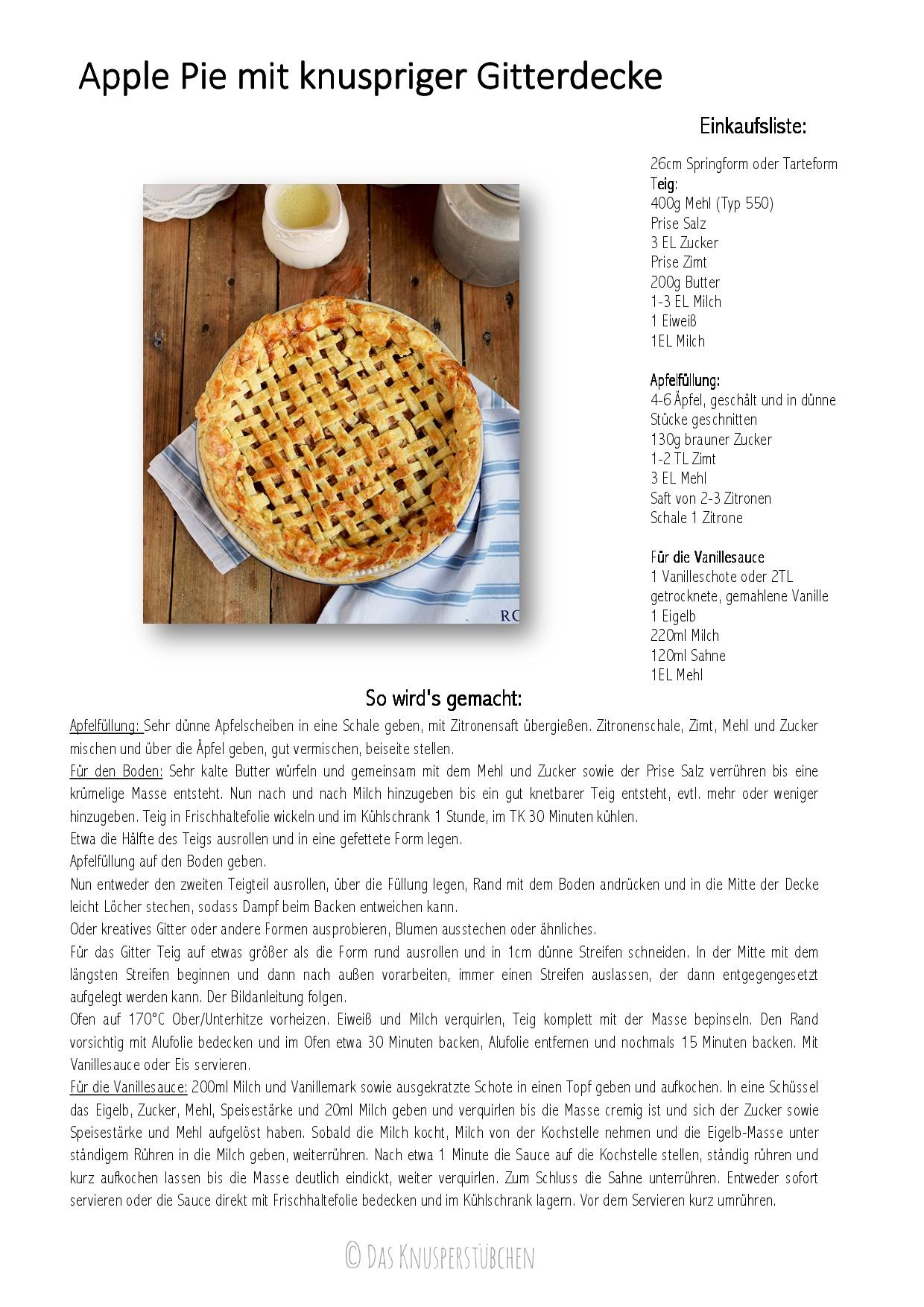 Apple Pie mit knuspriger Gitterdecke Rezept