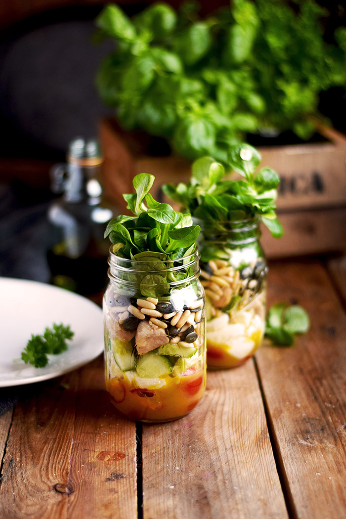 Honig Senf Salat im Glas - Honey Mustard Salad in a jar - Honey Mustard Dressing (1)