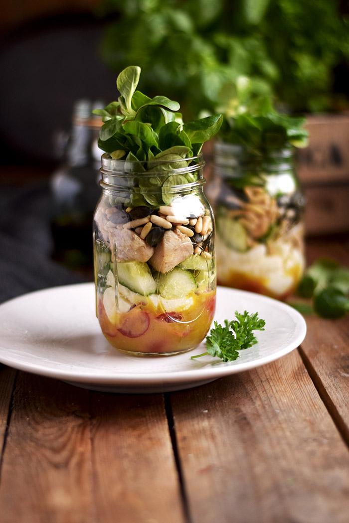 Honig Senf Salat im Glas - Honey Mustard Salad in a jar - Honey Mustard Dressing (4)