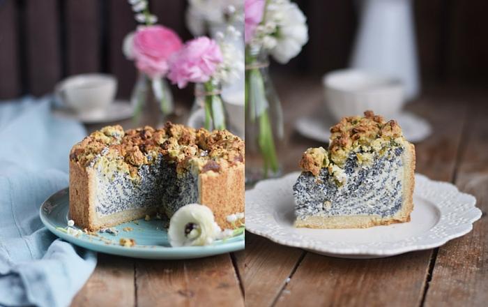 Mohn-Streuselkuchen mit Vanille-Quark-Creme