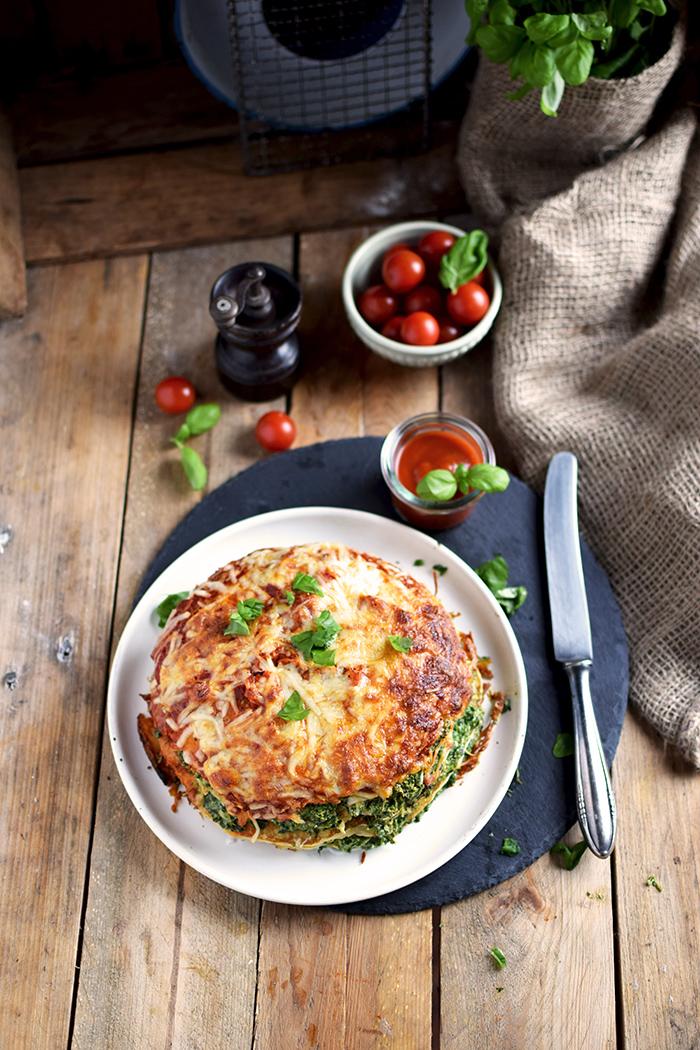 Pancake Stack mit Spinat - Herzhafter Pfannkuchen Turm mit Spinat (16)