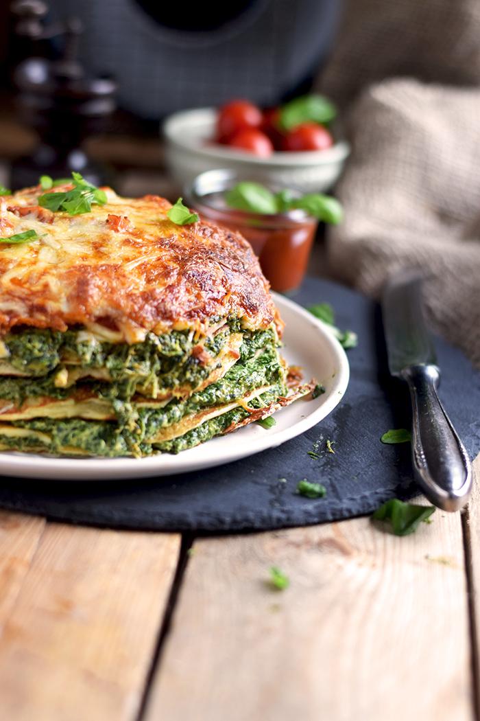Pancake Stack mit Spinat - Herzhafter Pfannkuchen Turm mit Spinat (19)