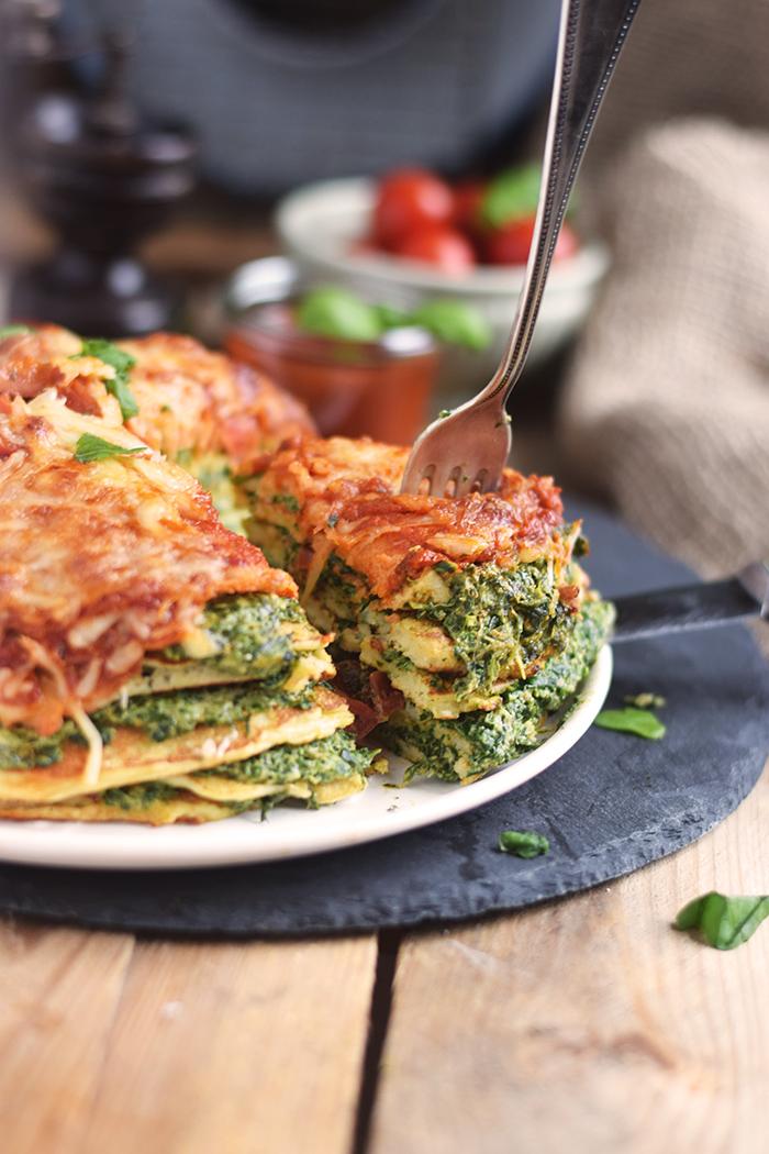 Pancake Stack mit Spinat - Herzhafter Pfannkuchen Turm mit Spinat (3)