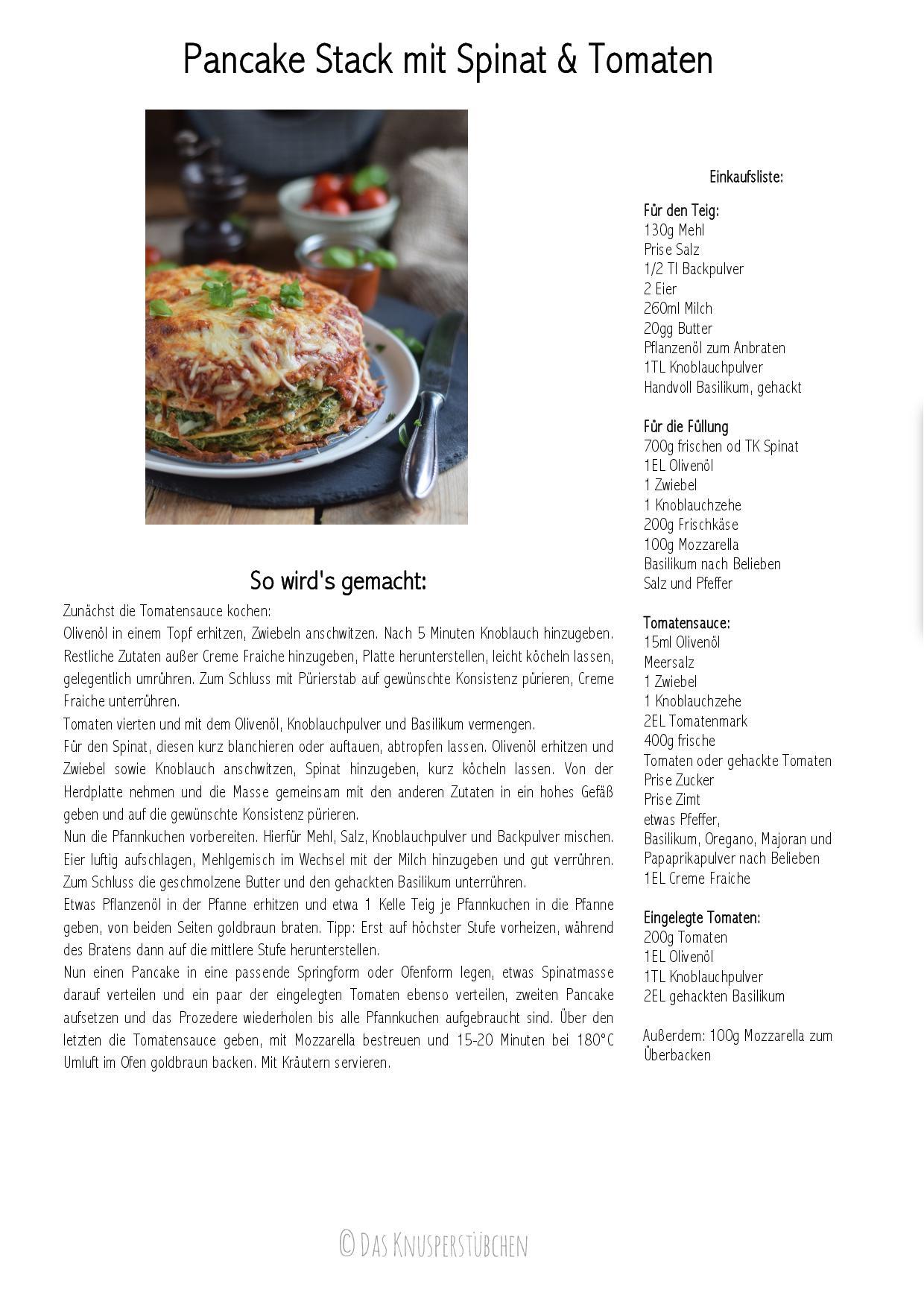Pancake Stack mit Spinat & Tomaten Rezept-001