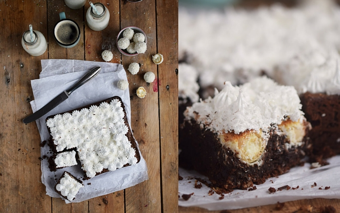 Raffello Brownies mit Marshmallow Topping