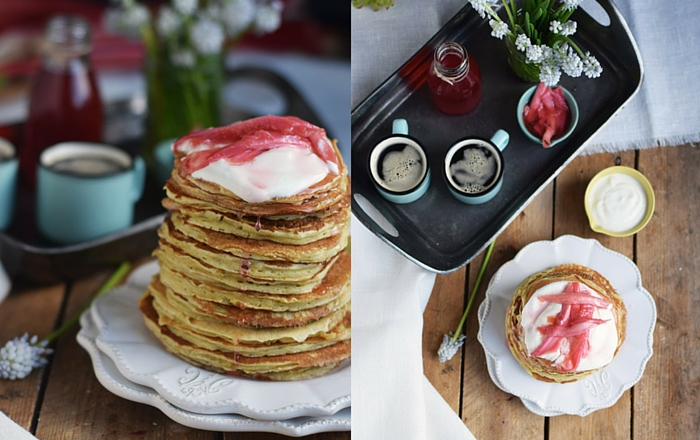 Buttermilch Pancakes mit Rhabarber Sirup - Buttermilk Pancakes with rhubarb syrup