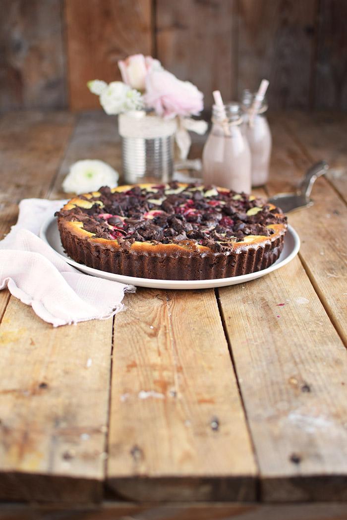 Schokostreusel Joghurt-Cheesecake mit Kirschen (15)
