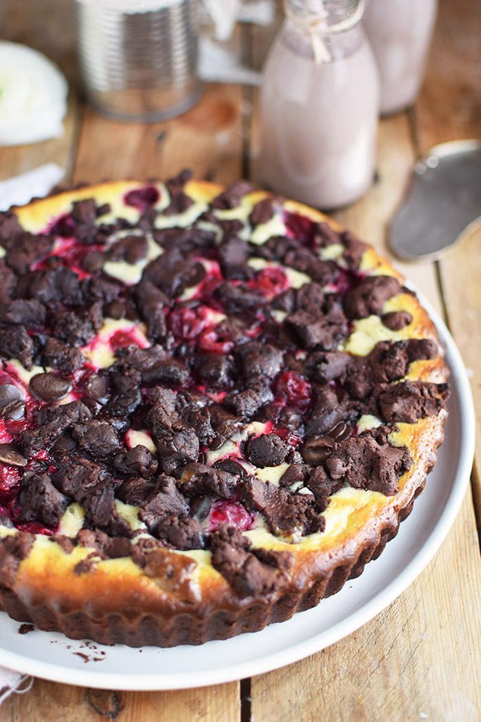 Schokostreusel Joghurt-Cheesecake mit Kirschen (18)