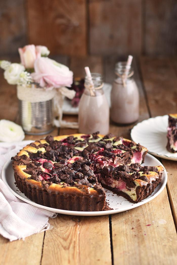 Schokostreusel Joghurt-Cheesecake mit Kirschen (2)