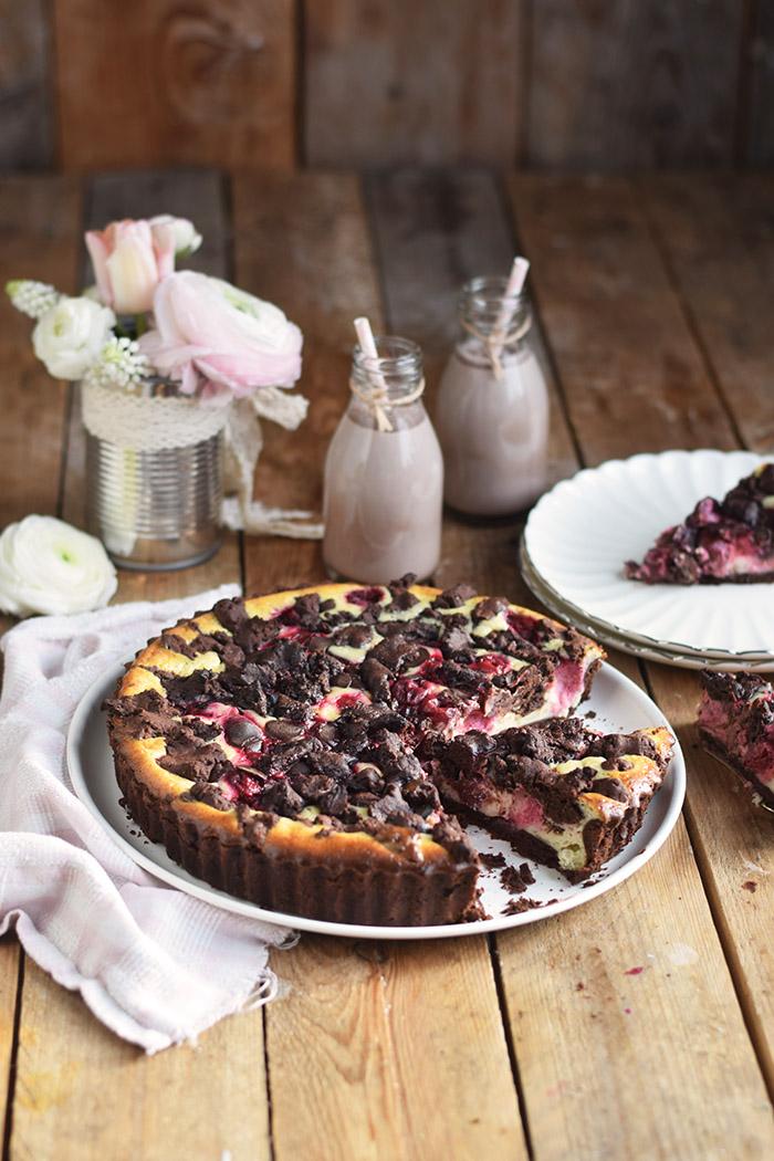 Schokostreusel Joghurt-Cheesecake mit Kirschen (5)