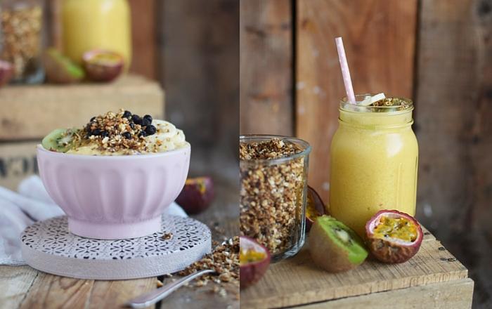 Smoothie Bowl mit Honig-Sesam-Granola und Früchten