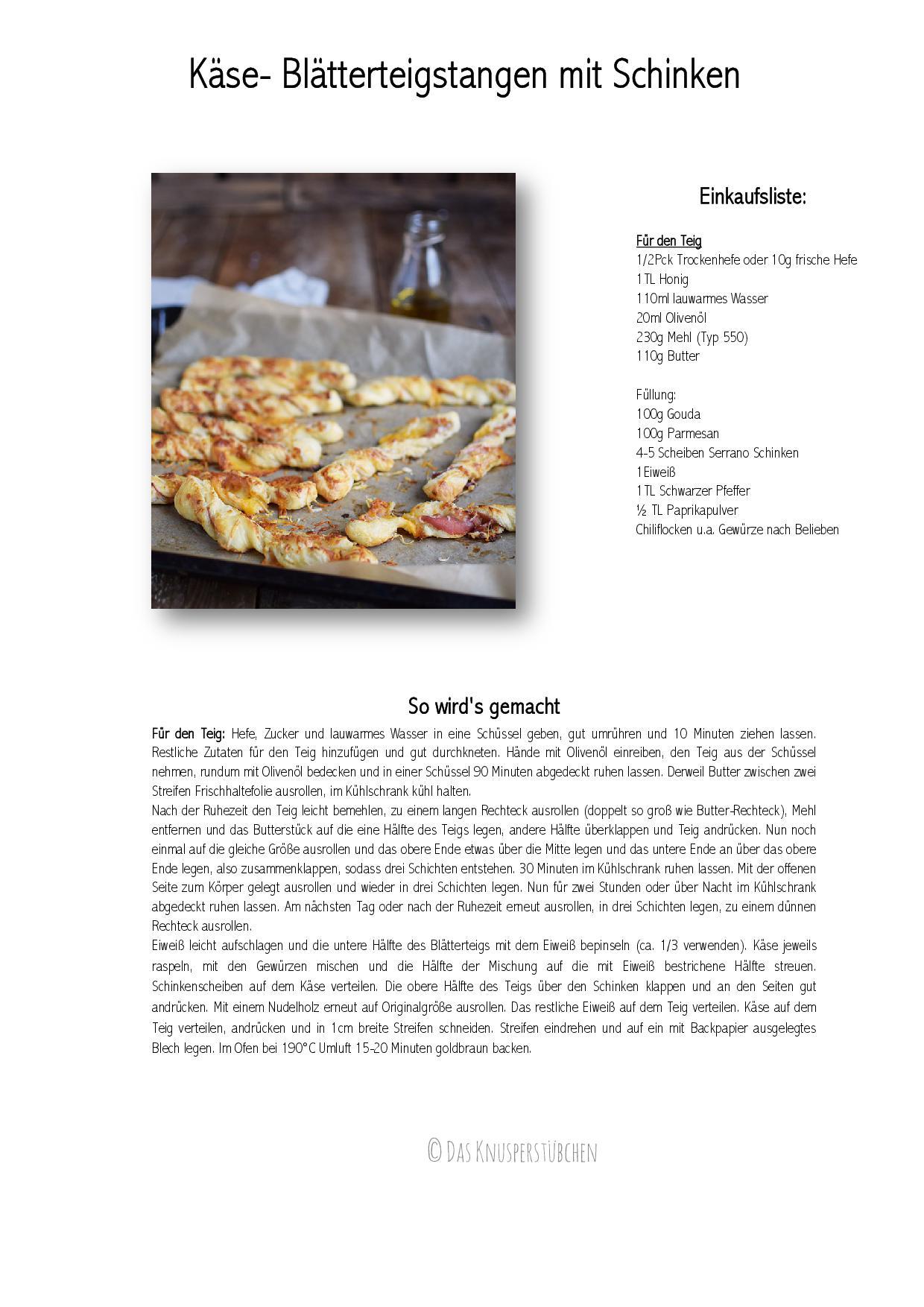 Kaesestangen mit Blaetterteig und Schinken-001