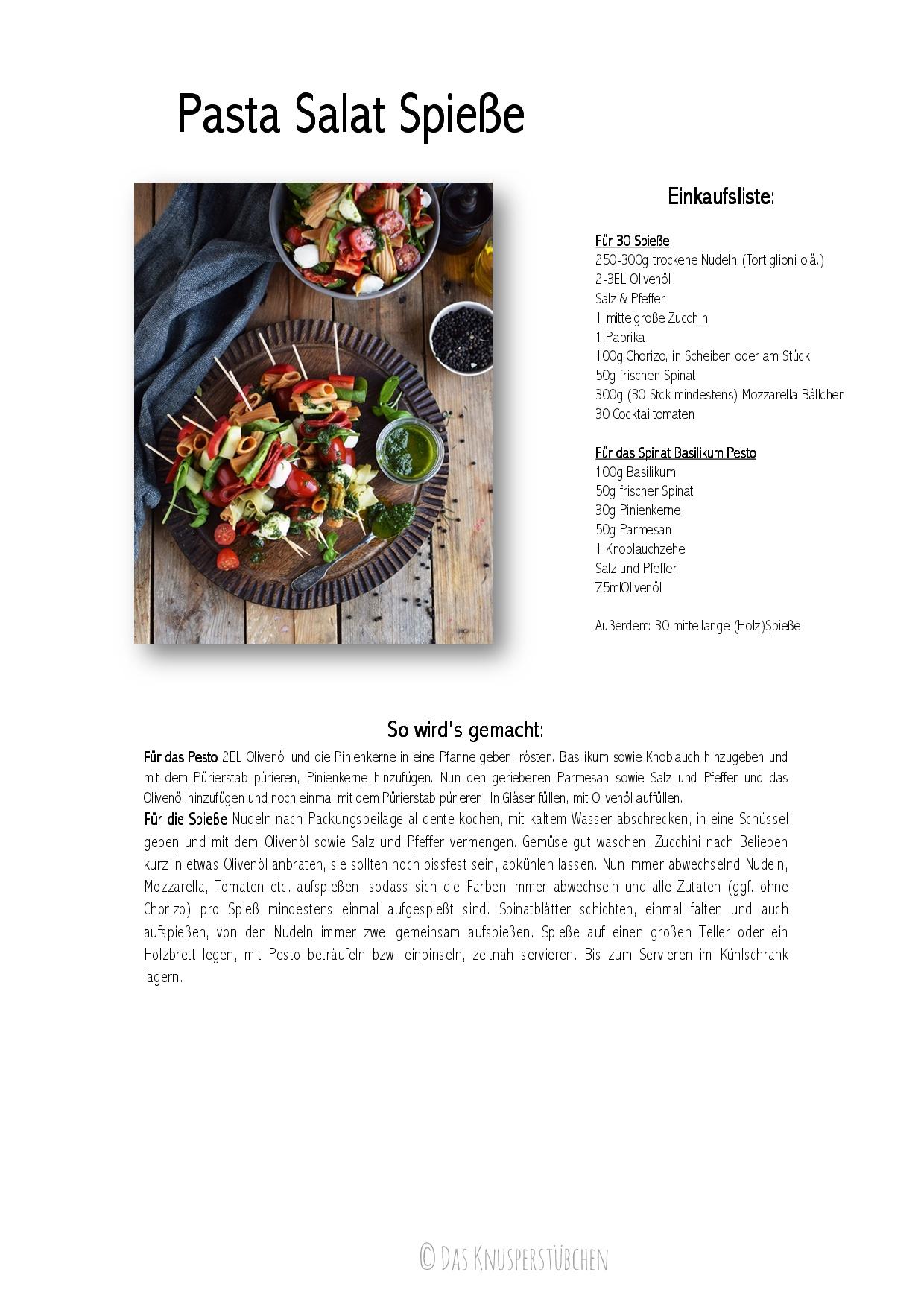 Pasta Salat Spiesse - Pasta Salad Skewers Rezept