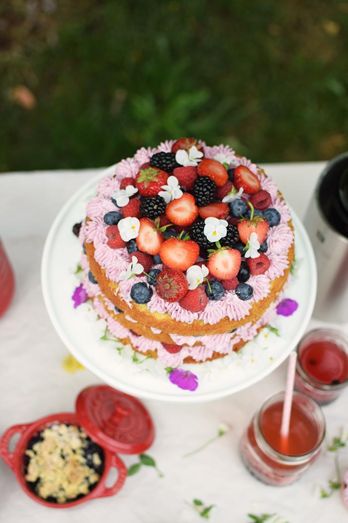 Zitronen Beeren Torte - Lemon Berry Naked Cake (17)