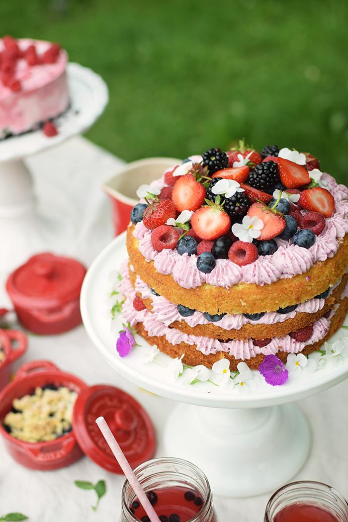 Zitronen Beeren Torte - Lemon Berry Naked Cake (3)