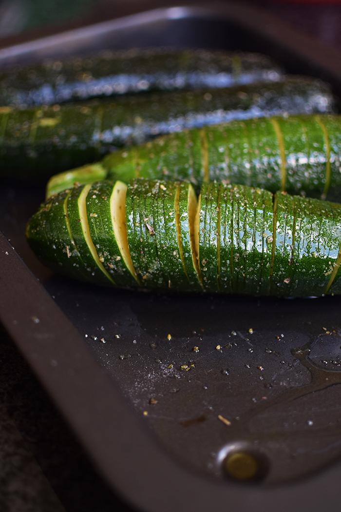 Hasselback Zucchini - Courgette - Rezept (6)