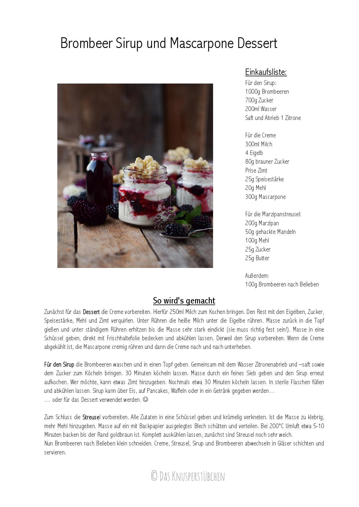 Brombeer Sirup und Mascarpone Dessert Rezept-001