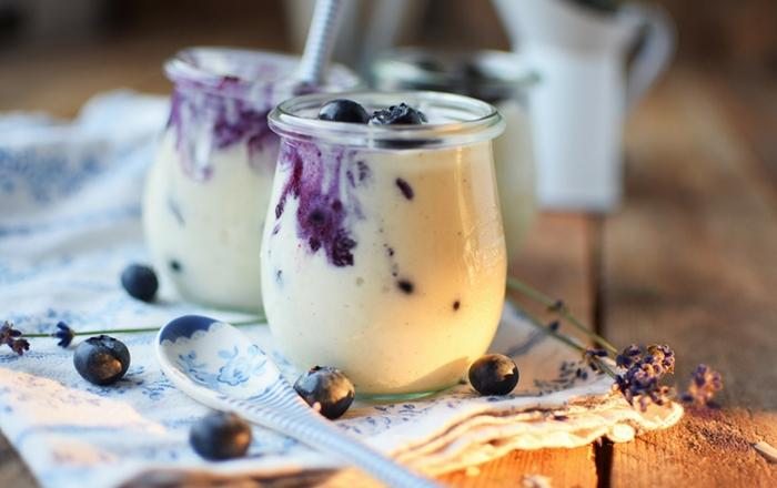 Vanille Mousse mit Ofen-Blaubeeren