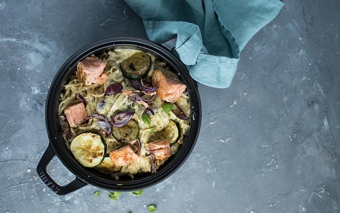 Zucchini-Lachs-Pasta