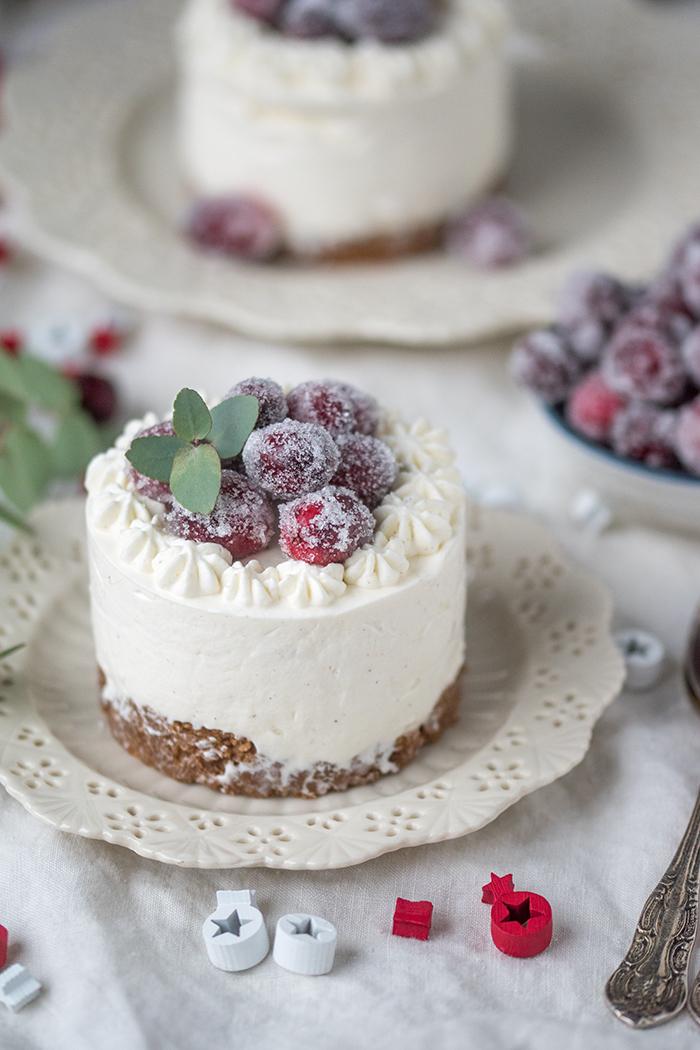 Weihnachtsessen Einfach Gut Vorzubereiten.Frischkäse Parfait Törtchen Mit Gezuckerten Cranberries