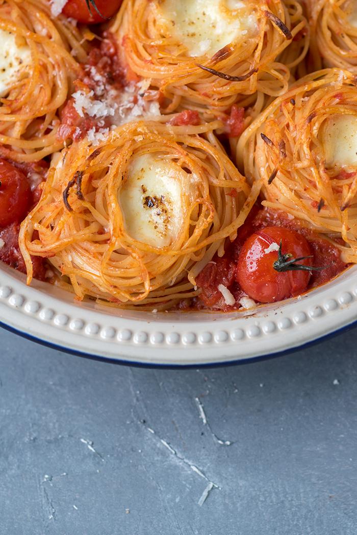 Spaghetti Nester Tomate Mozzarella Knusperstübchen
