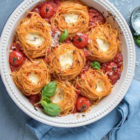 Spaghetti-Nester Tomate-Mozzarella