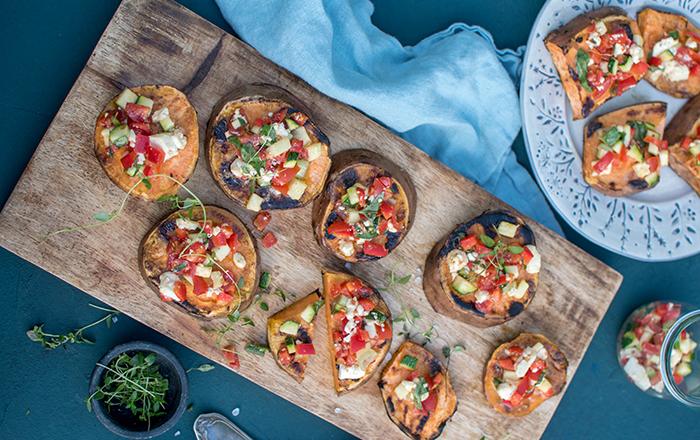 Süßkartoffeln: Gegrillt mit mediterranem Gemüse