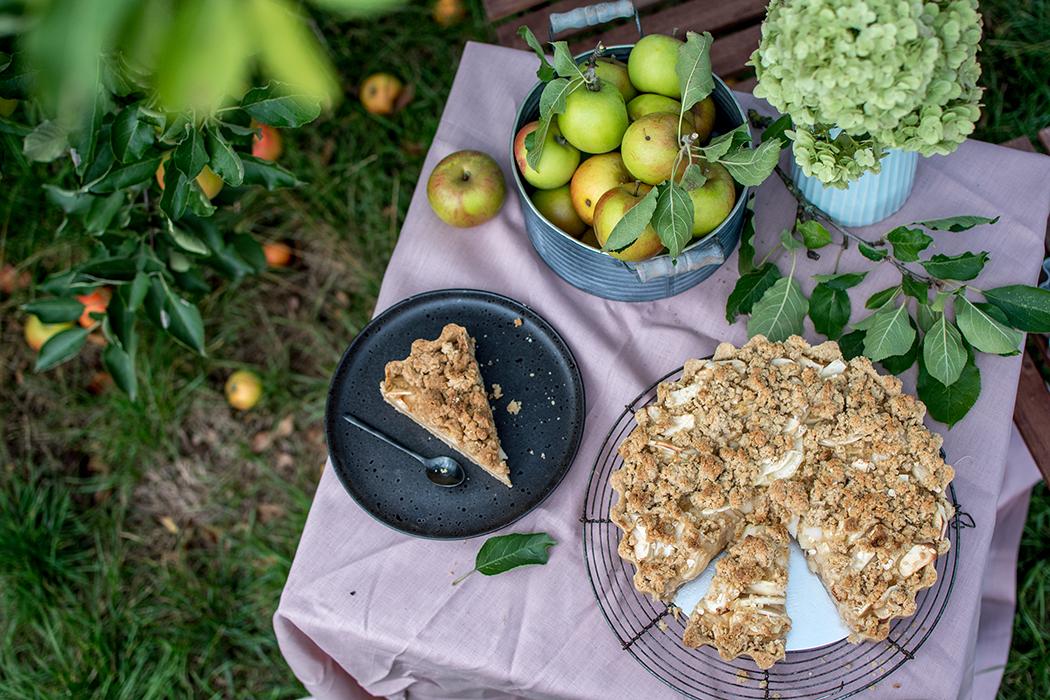 Apfelkuchen mit Zimtpudding und Streusel