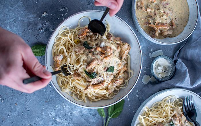 Pfifferling-Pasta mit Salbei: Soulfood-Alarm
