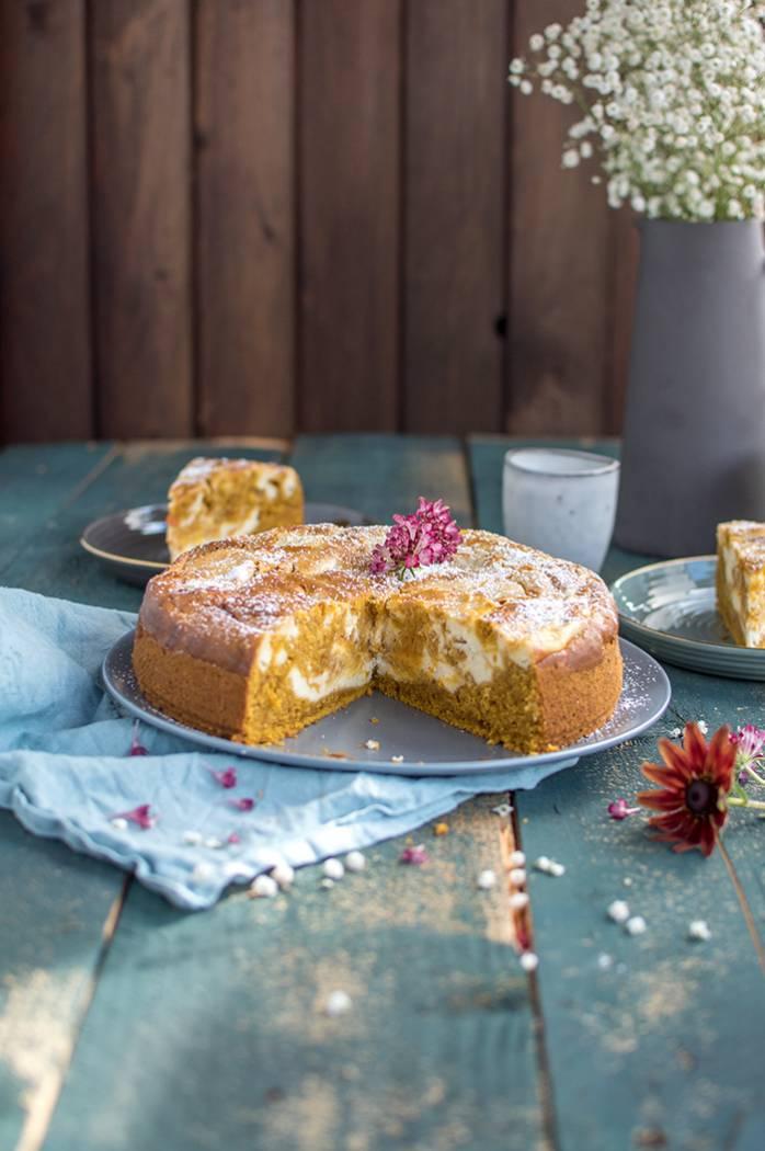 Kürbiskuchen mit Cheesecake-Swirl