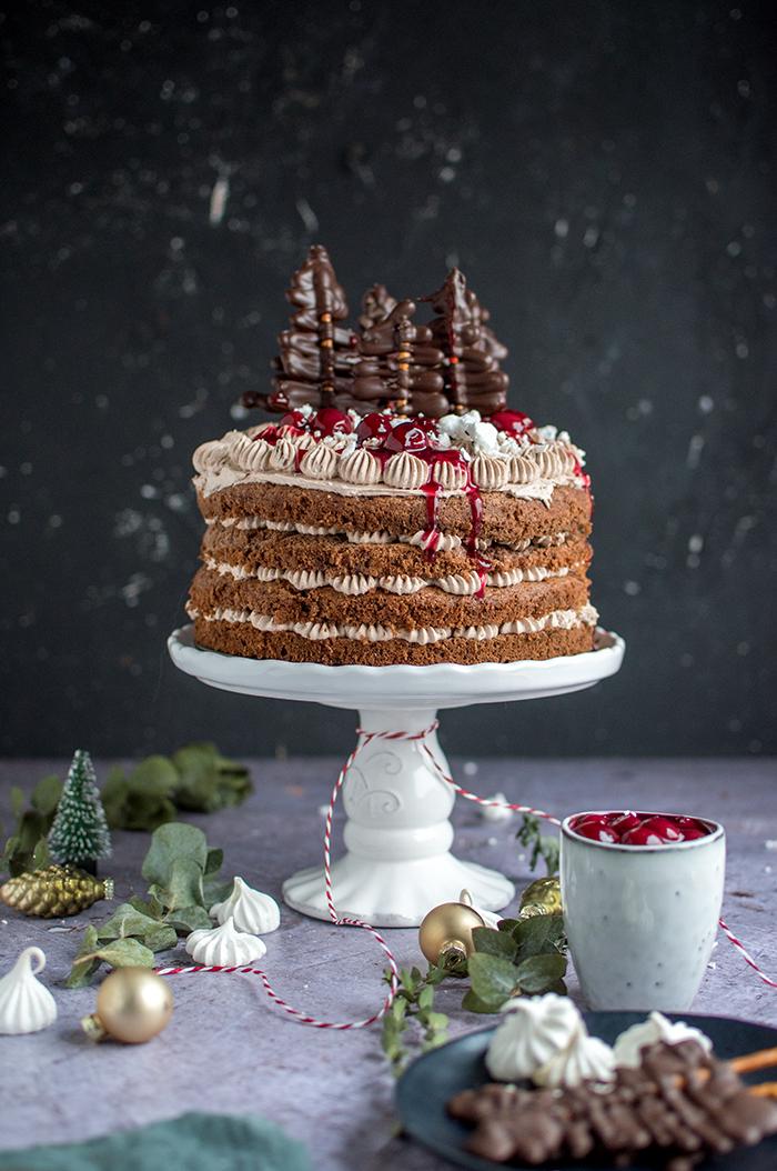 Lebkuchen Torte Mit Gluhweinkirschen Knusperstubchen