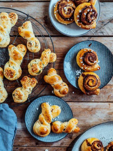 Joghurtbrötchen ohne Hefe: Herzhaft mit Bärlauch und Parmesan, Zimtschnecken oder Schokobrötchen