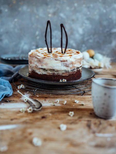 Schoko-Mandelkuchen mit Marmor-Creme: Ostern zu Hause