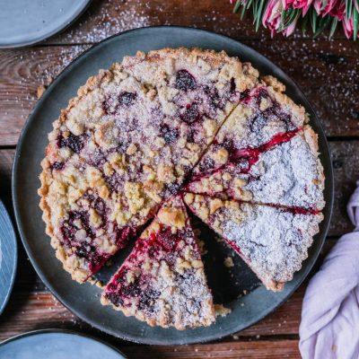 Streuselkuchen mit Mascarpone-Quarkfüllung, Zitronen und Himbeeren: Frisch und fruchtiges Knusperglück