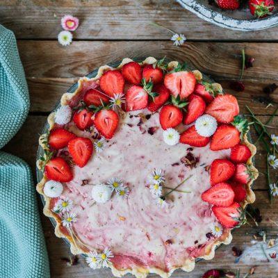 Quarkkuchen mit Erdbeer-Swirl